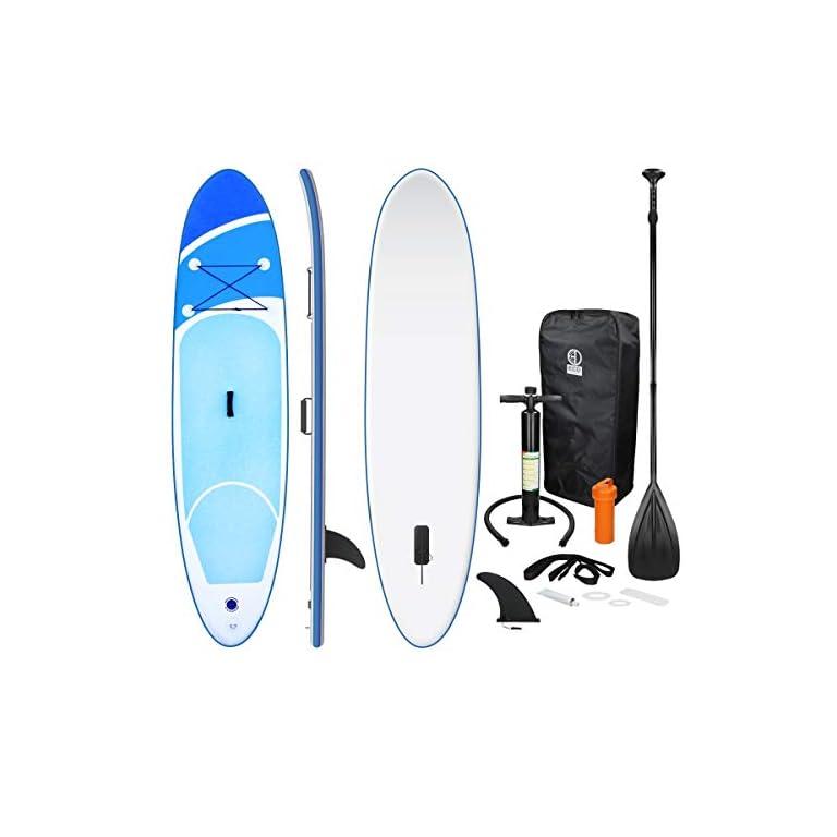 ECD Germany Aufblasbares Stand Up Paddle Board 305/308/320cm, aus PVC, bis 120/150kg, komplett Set, SUP Board Paddling…