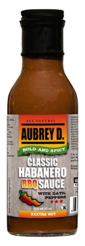 Aubrey D. Classic Habanero BBQ Sauce, Spicy Hot Marinade for Barbecue Chicken Wings, Fish, Beef, Ribs