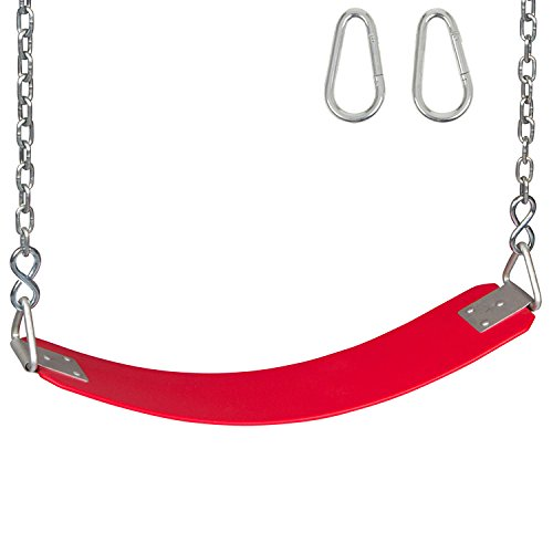 Swing Set Stuff Commercial Rubber Belt Seat with Chains & Hooks SSS Logo Sticker Playground Swing, Red -