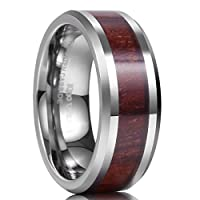 King Will 8mm Real Wood Tungsten Carbide Ring High Polished Wedding Band Comfort Fit
