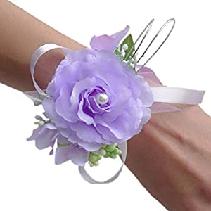 Arlai Set of 2,Wrist Corsage Wristband Roses Wrist Corsage for Prom, Party, Wedding 43
