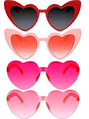 4 Pieces Heart Shaped Sunglasses Women Retro Cat Face Vintage Rimless ()