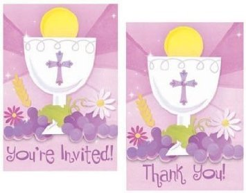 amazon com first communion invitation and thank you cards combo 20