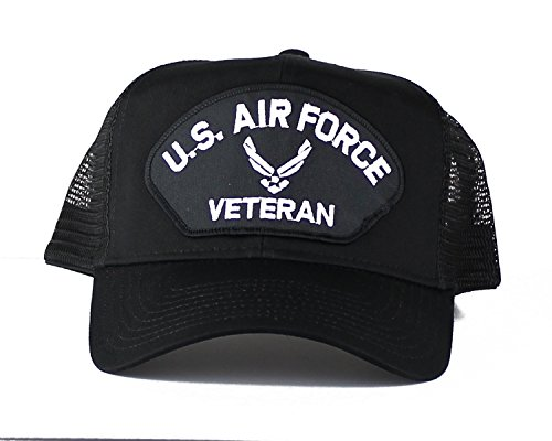 OldSchoolUSA Military U.S. Air Force Veteran Wings Large Embroidered Iron On Patch Snapback Trucker Cap (Black)
