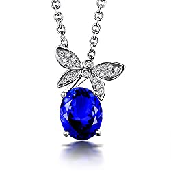 White Gold With Tanzanite Diamond Necklace Pendant