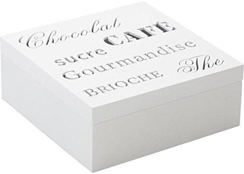 Caja organizadora 4 compartimentos de madera blanco 18 x 18 x 7 cm: Amazon.es: Hogar