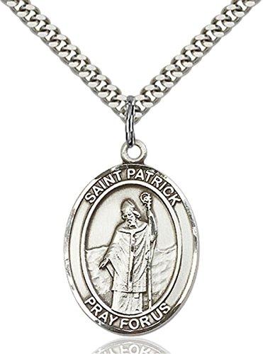 - Sterling Silver Saint Patrick Medal Pendant, 1 Inch