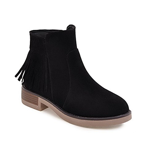 BalaMasa Resistant ABL09947 Black Slip Suede Womens Tassels Retro Platform Boots HB7HPnr