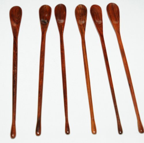 set of 6 latte/dessert/sundae spoons made from thai rosewood (sold exclusively by deal from home), sent next day recorded delivery from the u.k by Deal from - Day Recorded Next Delivery