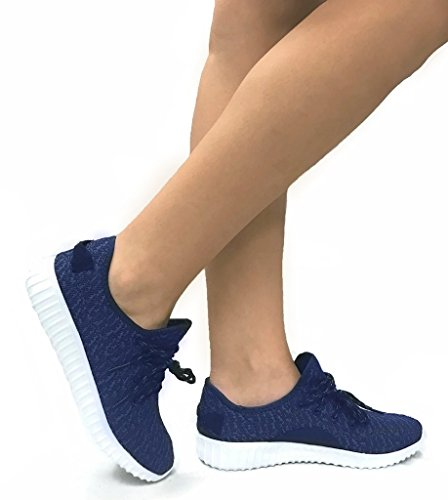 The Collection Jill Womens Athletic Shoes Casual Fashion Breathable Mesh Sneakers Navy