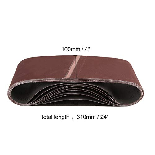 uxcell サンディングベルト 10.16×60.96cm 600グリット 酸化アルミニウム サンディングベルト サンドペーパー ポータブルベルトサンダー用 10個入り
