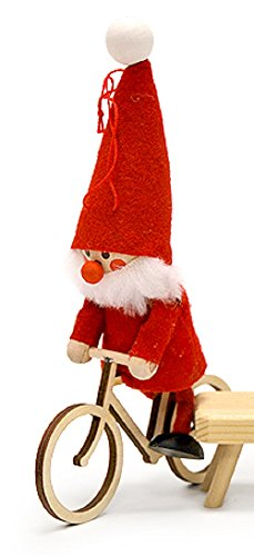 Home and Holiday Shops Nordic Santa Riding Bicycle Bike Gnome Christmas Ornament Nisse Tomte Tonttu New (Holiday Bicycle Ornament)
