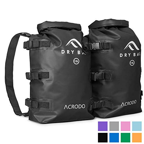 Acrodo Waterproof Backpack Dry Bag - 15 Liter Floating Rolltop Dry Backpack for Kayaking, Water Resistant Pouch for Beach, Boating, Camping, Swimming & Fishing, Perfect Outdoors Gift