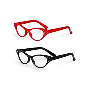 Red / Black Cat Eye Retro Costume Dress Up Hip Hop Rhinestone Glasses (2 Pack)