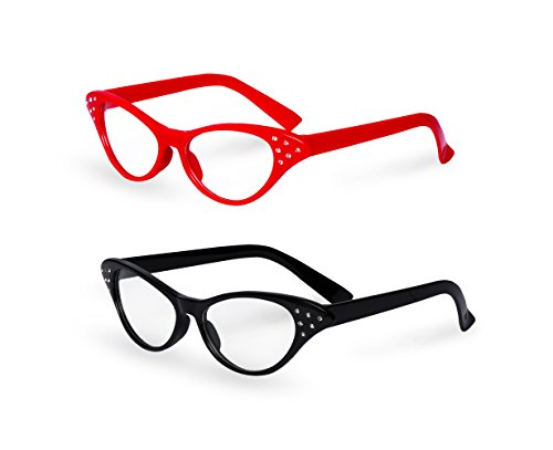 50s Style Dance Costumes (Red / Black Cat Eye Retro Costume Dress Up Hip Hop Rhinestone Glasses (2 Pack))