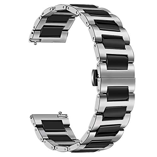 (TRUMiRR for Fossil Women's Gen 4 Q Venture HR Watchband, 18mm Stainless Steel & Ceramic Band Quick Release Strap Wrist Bracelet for Fossil Gen 3 Q Venture, LG Watch Style, Withings Steel HR 36mm)