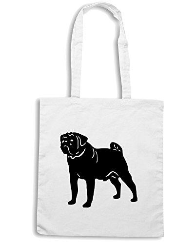 T-Shirtshock - Bolsa para la compra FUN0314 15s pug dog decal 53250 Blanco
