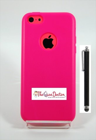 TCD for Apple iPhone 5C Fully Encased [HOT PINK] TPU Wrap Case Cover with Built In Screen Protector [Includes STYLUS PEN]