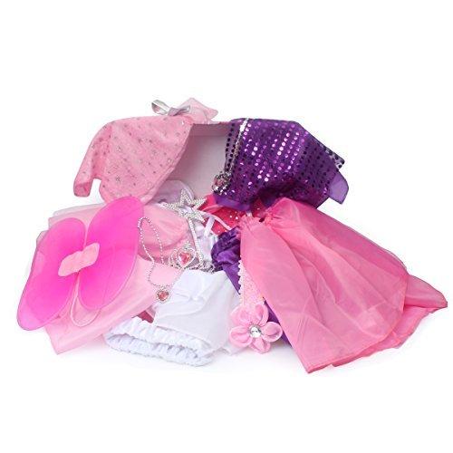 fedio 20PCS Girls Role Play Dress up Trunk Pretend Play Costume Set For Kids (Ballerina, Princess, Elf, Pop star)