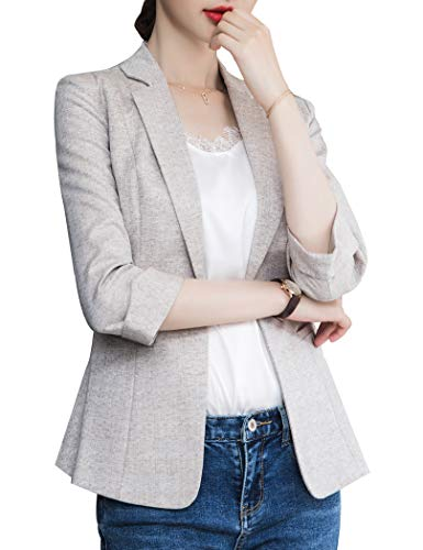 ZingineW Women's 3/4 Sleeves Blazer One Button Jacket Casual Collar Blazers Basic Lightweight Work Office Cardigan