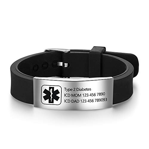 Lam Hub Fong Free Engraving 9 Inches Silicone Adjustable Medical Bracelets Emergency ID Bracelets for Men Women Kids Stainless Steel Rubber Alert Bracelets ()