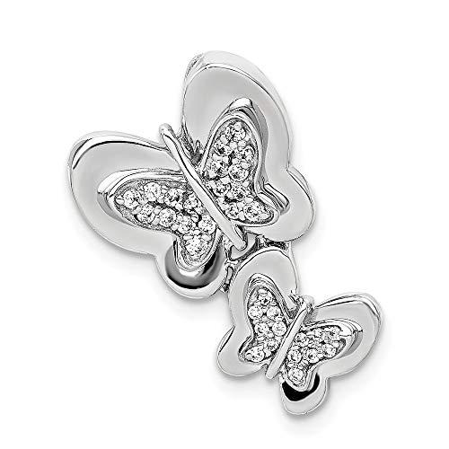 (14k White Gold Diamond Butterfly Chain Slide)
