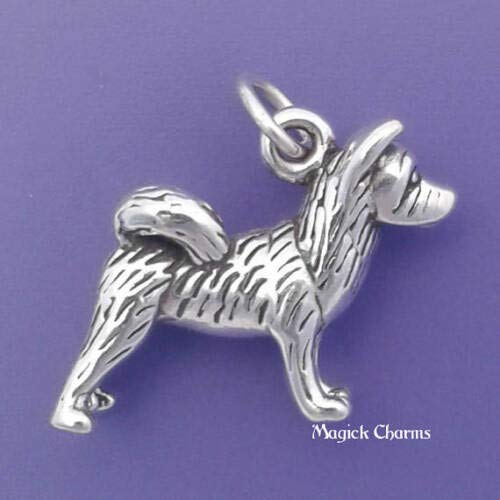 Sterling Silver 3-D Akita Dog Charm DIY Jewelry Making Supply for Charm Pendant Bracelet by Charm Crazy ()