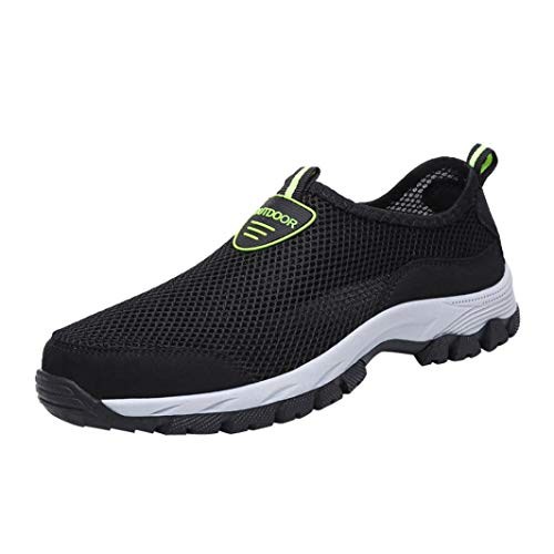 Hiking Shoes,Dainzuy Men Casual Slip On Mesh Outdoor Running Mountaineering Shoes (EU:44 US:10, Black)