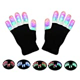 LED Gloves Yostyle Flashing Light up Gloving Colorful Fingers Gloves Sets Glow battery powered Best Gifts for Novelty Game Light Show Clubbing Halloween Costume Party Concert Birthday Party Rave(6 Modes 3 Colors 15Hrs )