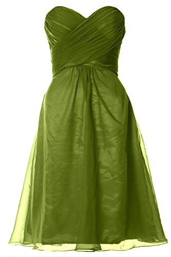 MACloth Women Strapless Cocktail Dress Chiffon Short Wedding Party Formal Gown Verde Oliva