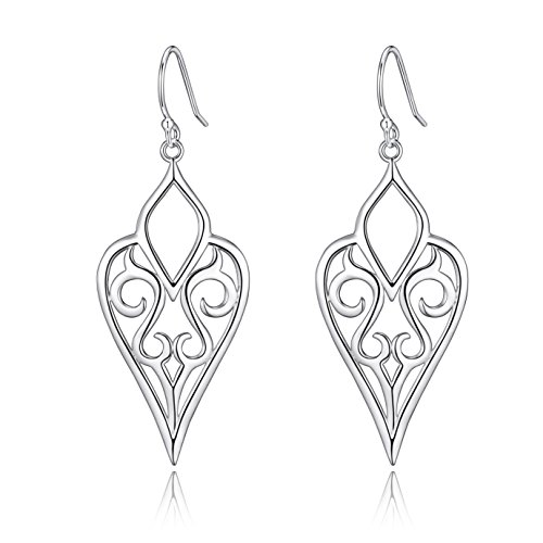 Highly Polished Sterling Silver Filigree Dangle Earrings, Bird of Cuckoo (Highly Polished)