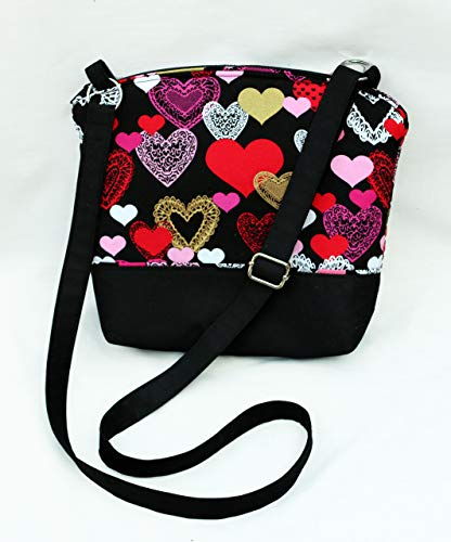 - Valentine's Day cross body purse. Fully padded with foam and lined with cotton. Lightweight and comfortable. Washable and iron safe.