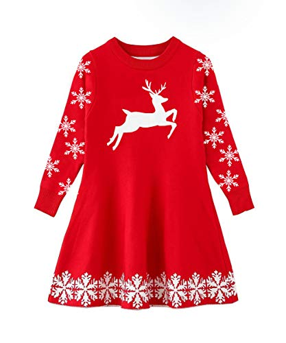 - Idgreatim Little Girls Ugly Christmas Knit Dress Reindeer Snowflake Xmas Long Sleeve Sweater Dress Red 4-5 Years