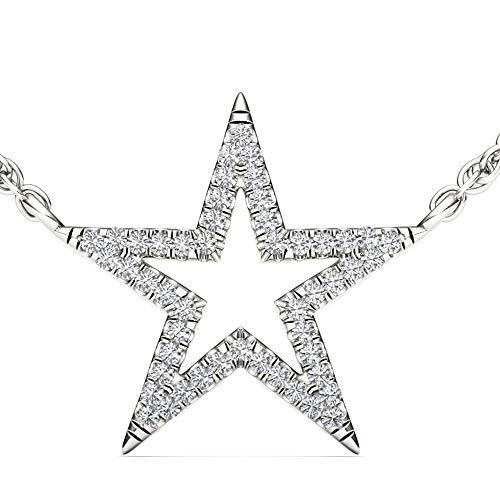 DZON IGI Certified 1/8ct Diamond Star Fashion Necklace, Diamond Pendant for Women in 10k White Gold (I-J, I2)