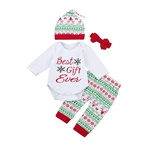 Reindeer Outfits For Babies (Kehen Baby Girl Boy My First Christmas Outfit Long Sleeve Romper+ Floral Printed Pants + Hat (12/18M, #2 4PC))