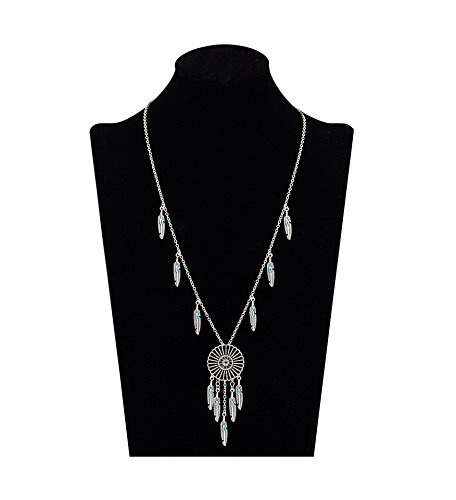 Shoopic Retro Boho Pendant Amulet Feathers Dreamcatcher Chain Tassel Necklace for Women