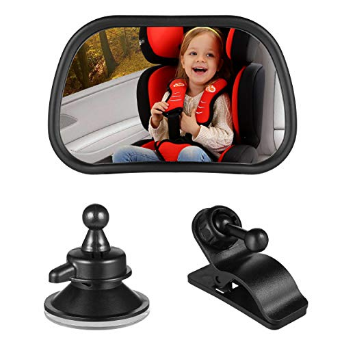 "Baby Car Mirror Car Rear Seat View Mirror Rear-View Baby Mirror Adjustable Forward Baby Mirror with Clips and Suction Up(3.2"" x 2"")"