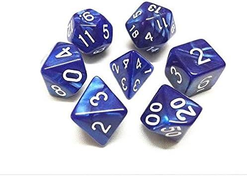 Juego de Dados de Alta definición de poliedros D&D para Dungeon and Dragons RPG Juegos de rol MTG Pathfinder Mesa Top Games 7 Dados Blue Pearl Dados: Amazon.es: Juguetes y juegos
