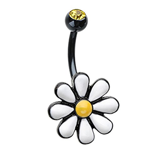 Belly Button Navel Ring One Daisy at a Time Flower Surgical Steel 14G (Black) ()