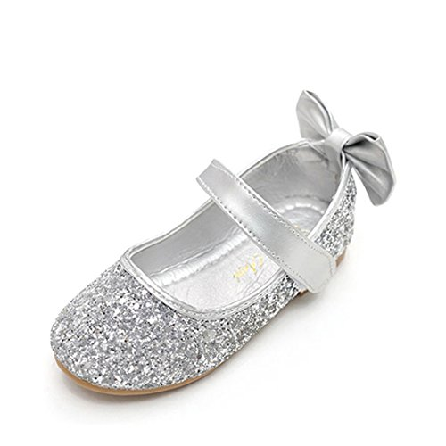 (O&N Glitter Bow Kids Children Girls Ballet Flats Princess Bridesmaid Wedding Party School Shoes Mary Jane Silver 10 M US)