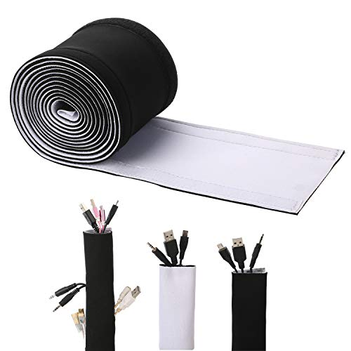 Cable Management Sleeves, ENVEL Neoprene Cord Organizer with Free Nylon for TV USB PC Computer Network Wires (118 inches) DIY by Yourself, Adjustable Black and White Reversible Wire Hider (Computer Hide Wires)