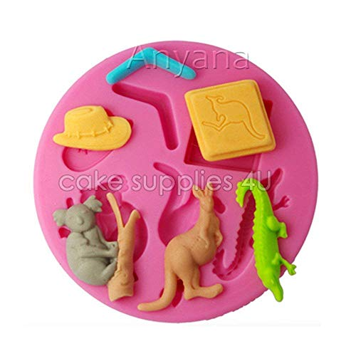 (Anyana mini Koala Baking Molds animal Silicone Fondant molds Kangaroo Cake Decorating Tools Crocodile Gumpaste cupcake topper decorations forest resin Clay Chocolate Candy Molds Non stick easy to)