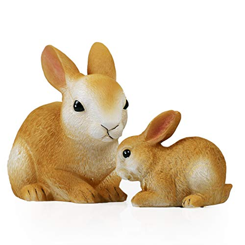 Candle Choice Handmade Hand Painted Vivid Real Wax Bunny Battery LED Candle Lights with Timer Mama & Baby Rabbit Statue Decorative Table Lighting for Spring Easter Holiday Home Decor Decorations Gifts