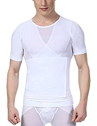 02d43c369e5ec Men Compression Shirt Chest Slimming Body Shaper Undershirt Hook   Eye  Closure