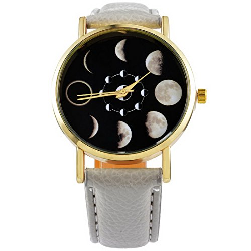 Loweryeah Unisexs Moon Phase Astronomy Space Watch Artificial Leather Band Quartz Wrist Watch