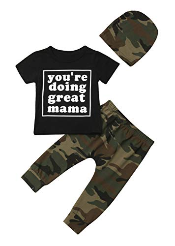 (VISGOGO Toddler Baby Boy Letters Printed Clothes Black T-Shirt Tops+Camo Pants + Hat Outfits Set (6-9)