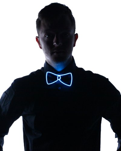[Light Up Bow Tie (Aqua)] (Edc Costumes Men)