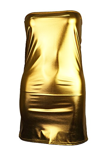 Dress Mini Patent (Women Patent Leather Fitted Mini Dress One Size Fits All Gold, Gold, One Size)
