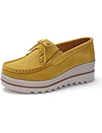 Womens Leather Platform Slip on Loafers Comfort Moccasins Low Top Casual Shoes