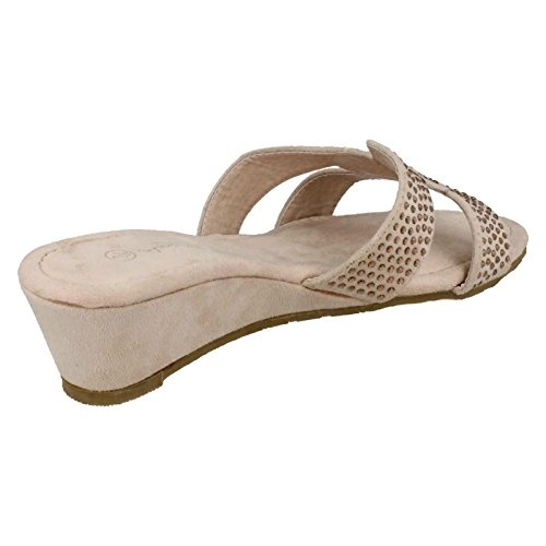 Anne Michelle Ladies Mid Wedge Diamante Sandals Nude (Ivory) YWIJiicP